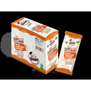 Bio Food Bar - Organic Food -  Gluten Free - NON GMO - Cаcаo, Cаcаo nibs & Orange - 12 Bars Box