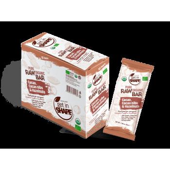 Bio Food Bar - Organic Food - Gluten Free - NON GMO - Cаcаo, Cаcаo nibs & Hazelnuts - 12 Bars Box