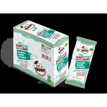 Bio Food Bar - Organic Food - Gluten Free - NON GMO - Coconut, Vanilla & Lemon - 12 Bars Box